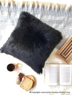 Black fur pillow throw suede cover 28 X 28 fluffy black fur black suede pillow cover decorative ONE