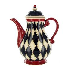 Nostalgic Harlequin Coffee Tea & Coffee Pot ( I NEED THIS FOR MY BLACK - WHITE & RED KITCHEN).