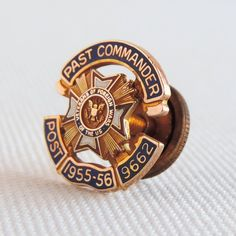 Vintage VFW Past Commander 1955-56 Enamel 10K Gold Pin, Post 9662 Iowa, Veterans of Foreign Wars United States by TheLogChateau on Etsy
