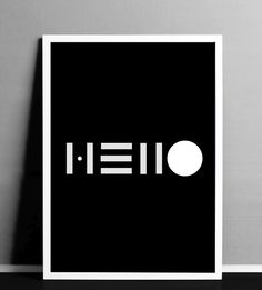 Great example of minimalism in typography! Hello by Aaron Yeboah Jr. Print available at http://2dots.tictail.com/product/hello
