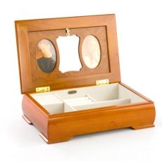 Mele & Co 'Claudia' Rich Oak and Burl Collection Medium Musical Jewellery Box