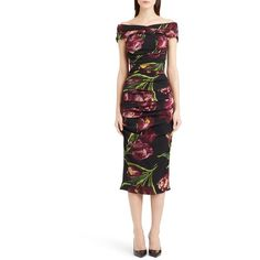 Dolce&Gabbana Tulip Print Ruched Off the Shoulder Charmeuse Dres (40.673.595 IDR) ❤ liked on Polyvore featuring dresses, violet, midi dress, ruched sheath dress, dolce gabbana dresses, tulip dress and ruched dress