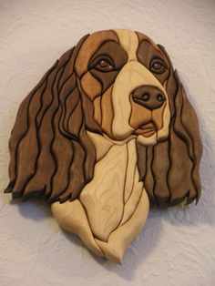 The Springer Spaniel is made with walnut, tiger wood and curly maple. It is glued to a 1/4 piece of hardboard and is finished with tongue oil. I