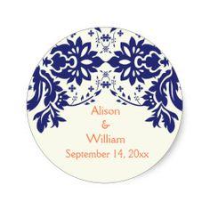 Damask navy blue, coral, wedding Save the Date Round Sticker