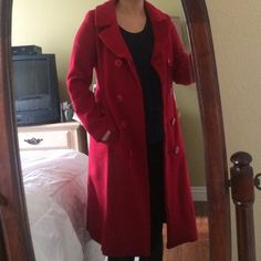 Red wool coat Beautiful red wool coat. Has pockets and is very comfortable and warm. Heart Moon Star Jackets & Coats