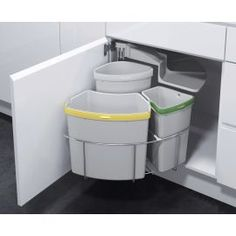 40L Pull Out Integrated Kitchen Cabinet Bin Soft Close Recycling Waste Dust Bins