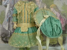Gorgeous French turquoise satin and lace dolls dress with matching from stairwaytothepast on Ruby Lane