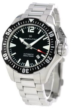 $644 | Buy this New & Authentic H77605135 Hamilton Khaki Navy Frogman Black Dial Automatic Men Watch at a low price from watchwarehouse.com