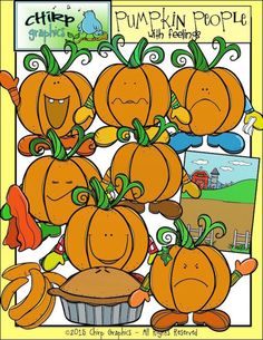 Pumpkin People Fall Clip Art Set  Chirp Graphics by ChirpGraphics