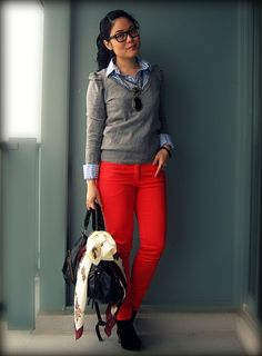 Outfit Idea : red pants + chambray shirt + grey sweater                                                                                                                                                     More