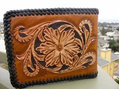 Wallet Mens / Leather Wallet  / Carved and Tooled  / Western / Leather Wallet / With Room For Initials / Sheridan Design