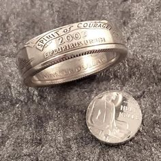 90% Silver Alabama State Quarter Ring. These rings make a great statement and you can choose any state of significance. The shank (width of the ring) measures approx. 6 to 7mm. These are made with 90%