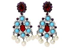 Vrba Turquoise, Red & Pearl Earrings