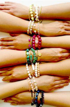 Colourful bracelet stacks, vibrant semi precious stones and mixed metals