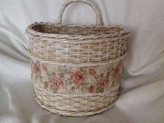 Vintage košík - papierové pletenie