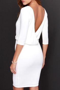 Half Sleeve Hollow Back Dress