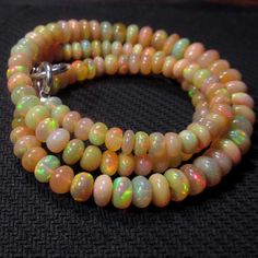 68ct 4mm 7mm Natural Rainbow Firing Ethiopian Opal Gemstones Beads Necklace   eBay