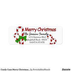 Candy Cane Merry Christmas  address label #portosabbianatale #holidaysmail #christmaslabel