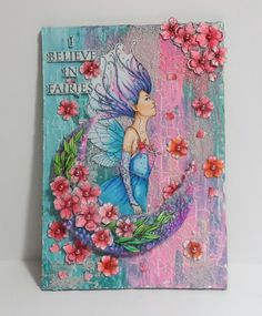 Fantasy Mermaids, Unicorns, Fairies, Dragons, Stamps, Cards, Pink, Design, Faeries
