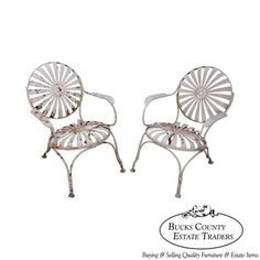 Antique-1930s-Pair-of-Sunburst-Patio-Garden-Chairs-manner-of-Francois-Carre