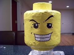 Lego head pinata by Manic Mommies®, with step-by-step instructions
