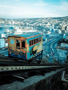 "Valparaiso, Chile. A ""must"" is to ride on this old funicular, built at the end of the 19th century."