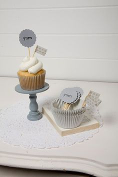 """Kind of love this for our cupcakes. maybe purple liners and then the part where it says """"yum"""" could say """"We do! Cupcake Flags, Cupcake Liners, Cupcake Toppers, Cupcake Cakes, Cupcakes, Hotel Amenities, Hotel Branding, Catering Ideas, Yummy Cakes"""