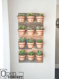DIY Wall Planter - as seen on HGTV's Open Concept Build an easy hanging wall planter with only three tools in three steps! This piece is easily customizable and is a functional piece of art on your wall! Diy Wall Planter, Succulent Wall Planter, Hanging Wall Planters, Hanging Herbs, Herb Planters, Planter Ideas, Plant Wall Diy, Concrete Planters, Outdoor Wall Planters