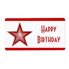 Create your next set of Stars labels on Zazzle! Choose from different sizes and shapes of mailing and address labels to customize today! Red Birthday Party, Happy Birthday, Large White, Label, Templates, Stars, Words, Prints, Color