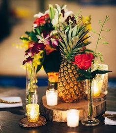 Tropical wedding decoration ideas fabulous fruit decoration idea for wedding day in wedding centerpieces fruit wedding . Tiki Wedding, Fruit Wedding, Hawaii Wedding, Wedding Table, Wedding Flowers, Church Wedding, Fall Wedding, Wedding Bouquets, Rustic Wedding