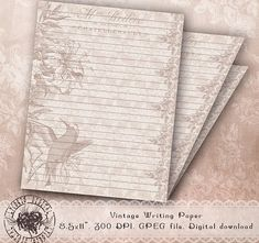 Printable Lined Stationery Flower Stationery Paper Floral