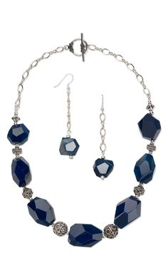 Jewelry Design - Single-Strand Necklace and Earring Set with Agate Gemstone Beads and Sterling Silver Beads and Chain - Fire Mountain Gems and Beads