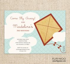 Kite Birthday Party or Shower Invitation by FLIPAWOO   by flipawoo, $18.00