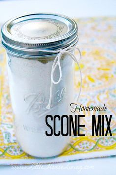 Mix Recipe How to make a basic scone mix to store in your pantry so you can make any flavor of scones that you want!How to make a basic scone mix to store in your pantry so you can make any flavor of scones that you want! Mason Jar Meals, Meals In A Jar, Mason Jars, Homemade Dry Mixes, Homemade Seasonings, Homemade Recipe, Homemade Food, Homemade Cheese, Homemade Sauce