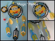 Collection Attrape-Rêves Minions  Grand modèle - Minion dreamcatcher hama perler beads by Magic-perles