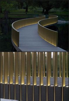 Minimalist Lighted Slat Bridge Railing