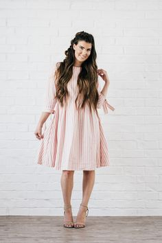 Nutcracker Fit and Flare Dress Light Pink Modest Dresses, Modest Outfits, Boho Outfits, Casual Dresses, Modest Clothing, Dressy Outfits, Clothing Stores, Summer Outfits, Dress Me Up