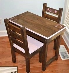 Kids table and 2 chairs by PolishedPine on Etsy