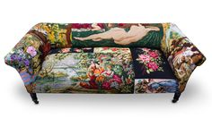 One-of-a-kind couch created from vintage needlepoint pieces. At FrederiqueMorrel.com