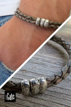 """Looking for a gift for your man? You've found the perfect item for this! The simple and beautiful bracelet combines 2 layers of brown braid leather and 3 silver plated beads. Bracelet comes with 2"""" (5cm) extension chain. #MensJewelry #MensBracelet #GiftIdeas2020 #ChristmasGifts2020 #Jewelry #ForHim #BoyfriendGift #LoveGift #GiftforMen"""