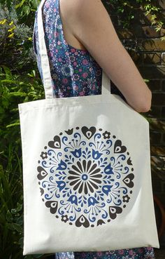 Mexican Circle Flower Tote Bag Hand Screen Printed by Fran  Wood Design. I have online shops at Etsy and Folksy.