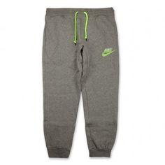 Nike AW77 Fleece Cuff Futura Pants-Carbon Heather Volt