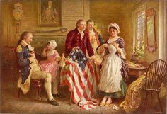 Betsy Ross showing George Ross and Robert Morris how she cut the stars for the American flag; George Washington sits in a chair on the left, by Jean Leon Gerome Ferris (published c. George Washington Painting, Washington Art, Conquistador, Robert Morris, First American Flag, Early American, American Art, American Pride, Saint Dominique