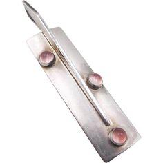 NE From Denmark Modernist Sterling Rose Quartz Pendant
