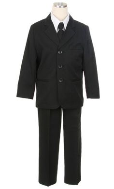 Classic Boys Suit in Black: The timeless elegance of the classic five-piece boys suit set makes it a must-have for every little guy's closet. Great for any special event, this beautiful number is sure to adore the crowd at any wedding or occasion. Your handsome boy will be the star of the event in this rich black boys suit. This adorable black boys suit set features a beautiful single breasted jacket with notch lapel, fully lined vest, boys white dress shirt, black dress pants, and matching…