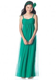 A-line Chiffon Hunter Green Spaghetti Straps Long Junior Bridesmaid Dress(BTJB227)