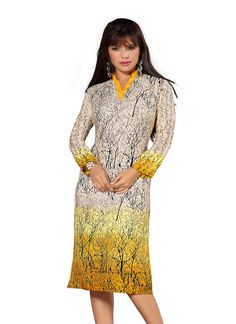 Yellow Rayon Cotton Kurti gunjfashion.com