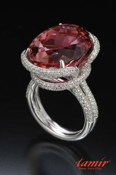 Breathtaking Tourmaline set in a diamond micro pave set ring. By Tamir.