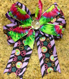 Boutique Hippie Peace Tye Dye Hair Bow on Etsy, $7.00
