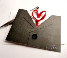 Valentine Card for Him, Mens Suit and Tie Card with Red Heart, Grey Suit or White Suit, Handmade, Date Night